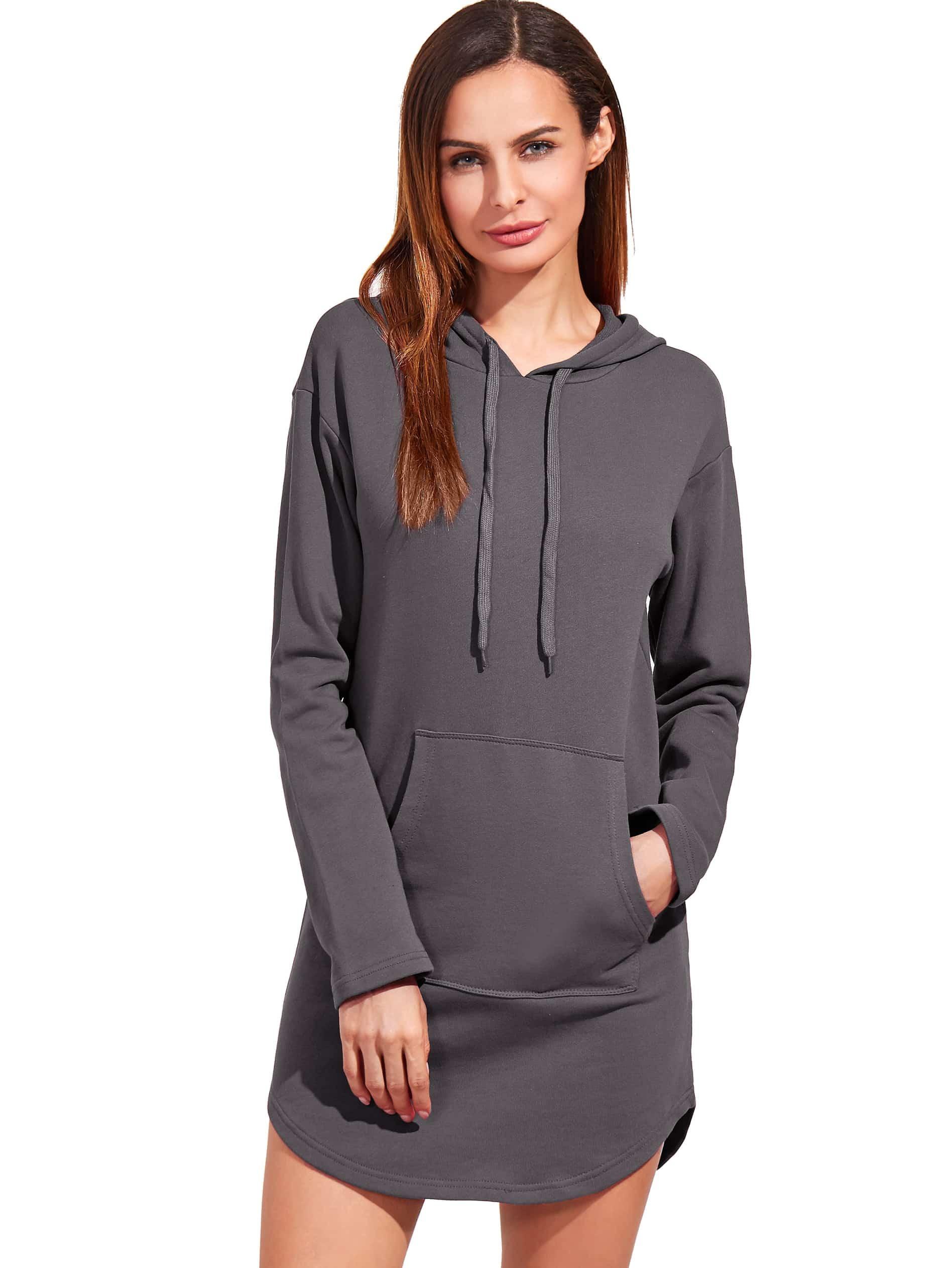 Фото Heather Grey Curved Hem Hooded Sweatshirt Dress With Pocket. Купить с доставкой
