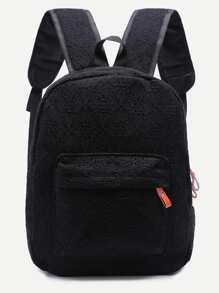 Lace Black Front Pocket Backpack
