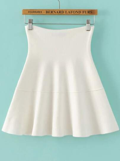 White Pleated Knit Skirt