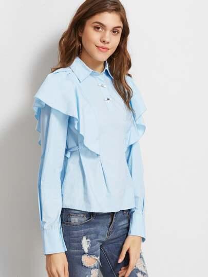 Blusa con volantes - azul