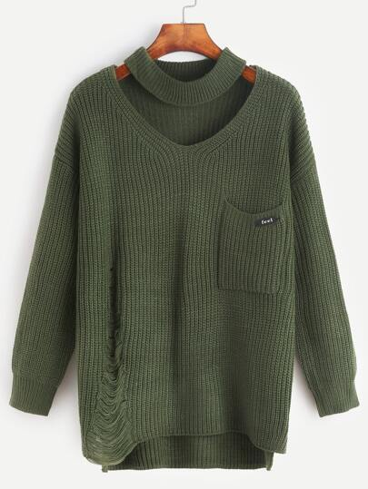 Green Cut Out Slit Side High Low Frayed Sweater