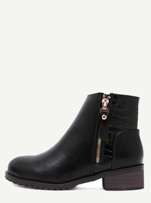 Black Faux Leather Croc Embellished Ankle Booties