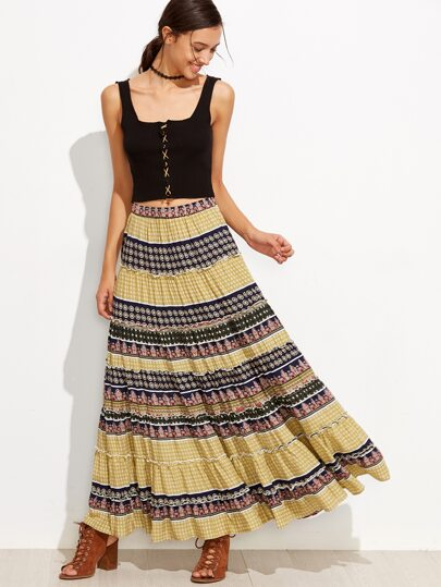 Tribal Print Floral Boho Maxi Swing Skirt