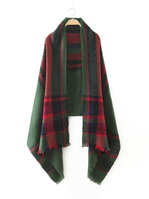 Vintage Green Plaid Raw Edge Scarf scarf161008211