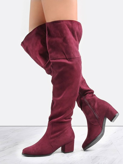 Wide Top Suede Thigh High Boots WINE
