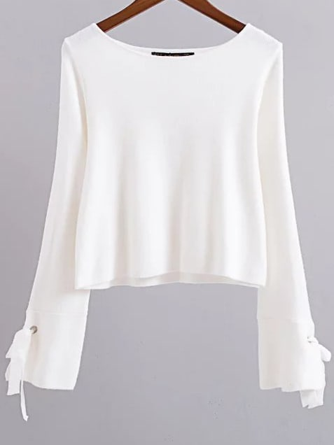 White Round Neck Tie Sleeve Knitwear sweater161011213