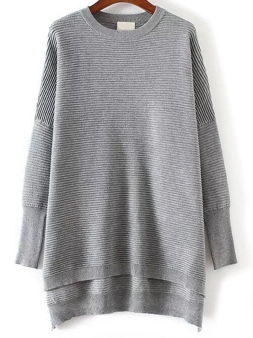 Grey Ribbed High Low Knitwear sweater161014205