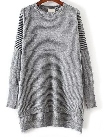 Grey Ribbed High Low Knitwear