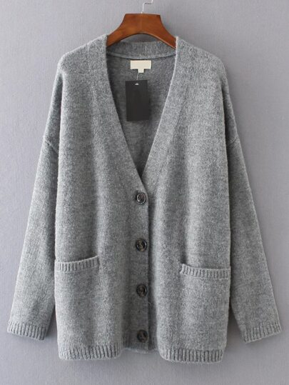 Grey V Neck Drop Shoulder Pocket Cardigan