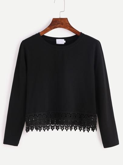 kurz T-shirt Spitze Saum -schwarz