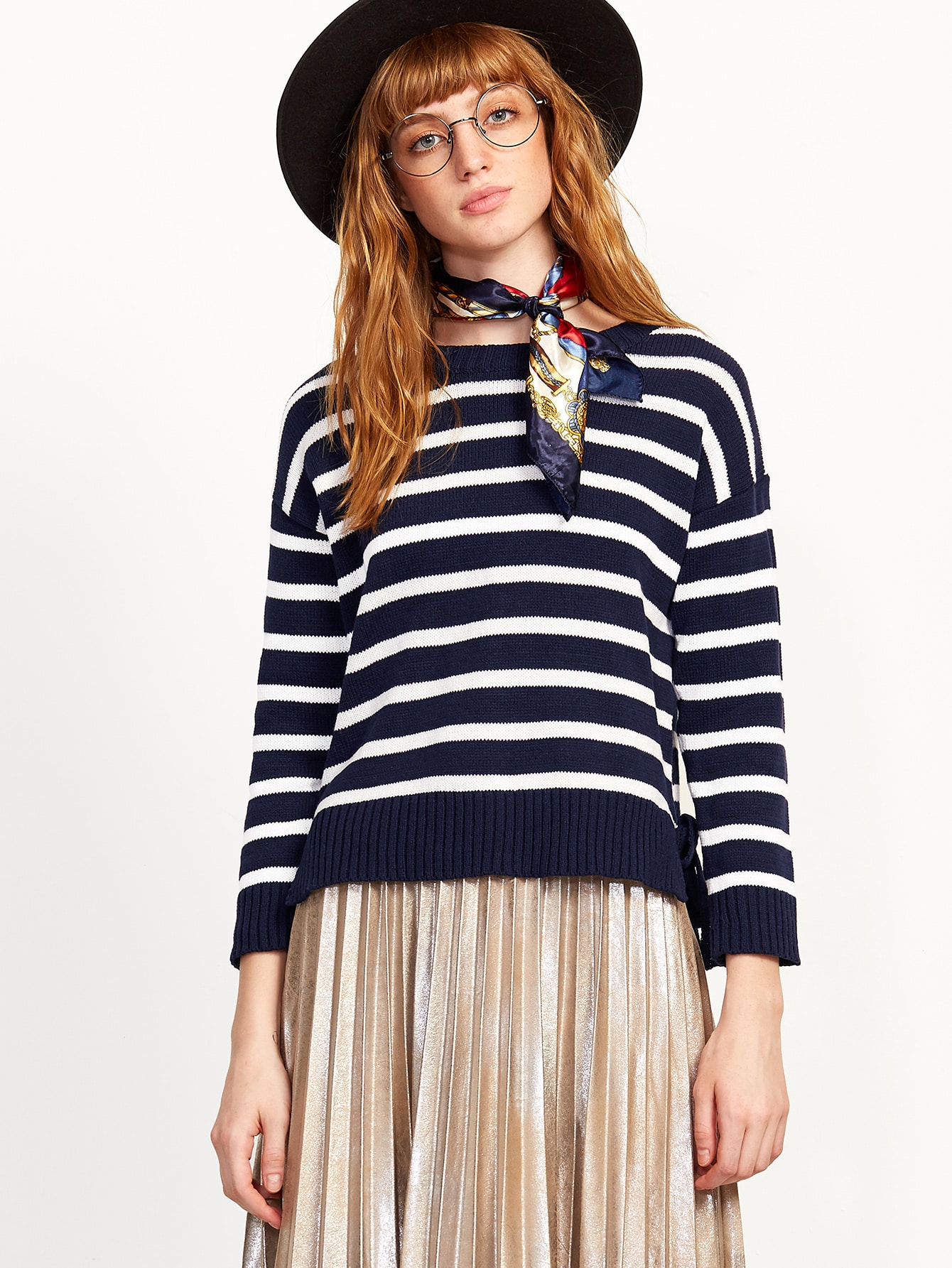 SheIn Navy And White Striped Slit High Low Sweater