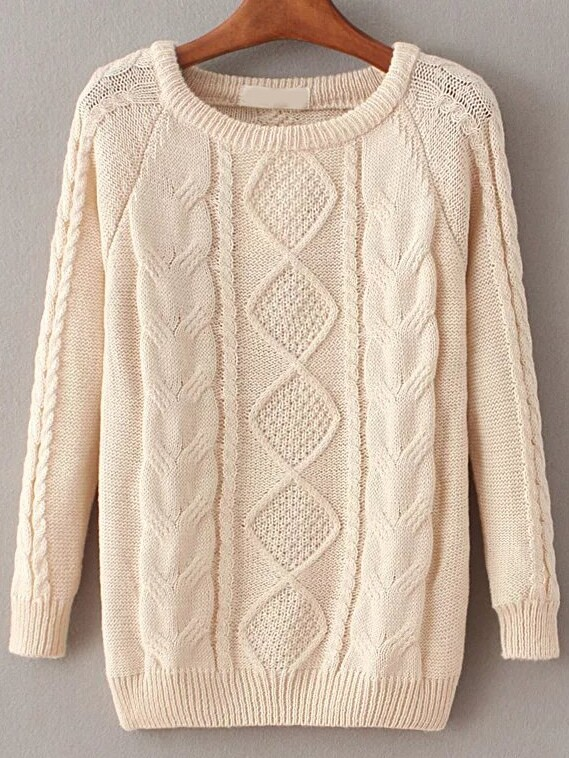 Apricot Cable Knit Raglan Sleeve Sweater sweater161020217