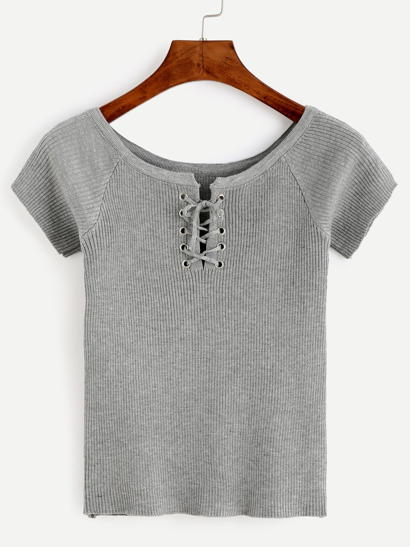 Heather Grey Eyelet Lace Up Ribbed T-shirt RTSH160801027