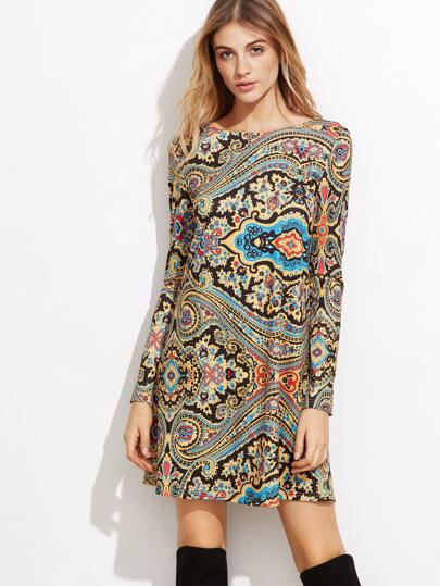 Multicolor Paisley Print Tunic Dress