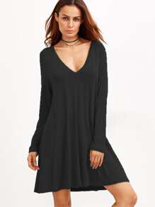 Black Deep V Neck Shift Dress
