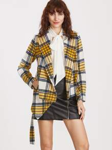 Yellow Plaid Shawl Collar Asymmetric Wrap Jacket
