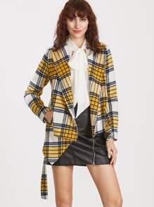 Yellow Plaid Shawl Collar Asymmetric Wrap Jacket