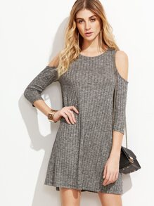 Grey Open Shoulder Ribbed Dress