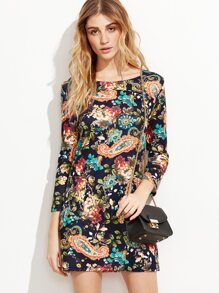 Floral Print Pockets Shift Dress