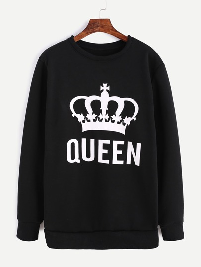Black Imperial Crown Print Sweatshirt