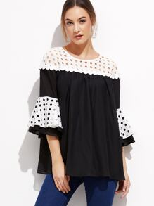 Contrast Eyelet Yoke And Ruffle Sleeve Top