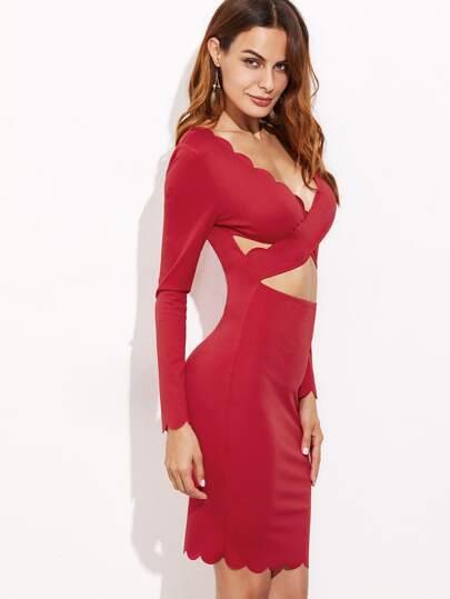 Crossover Peekaboo Scalloped Bodycon Dress
