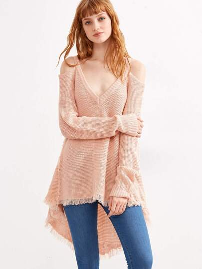 Pink Cold Shoulder Waffle Knit High Low Sweater