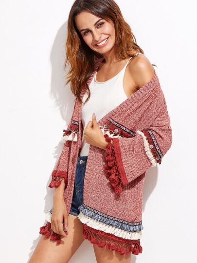 Veste tricoté marné en broderie avec frange - rouge
