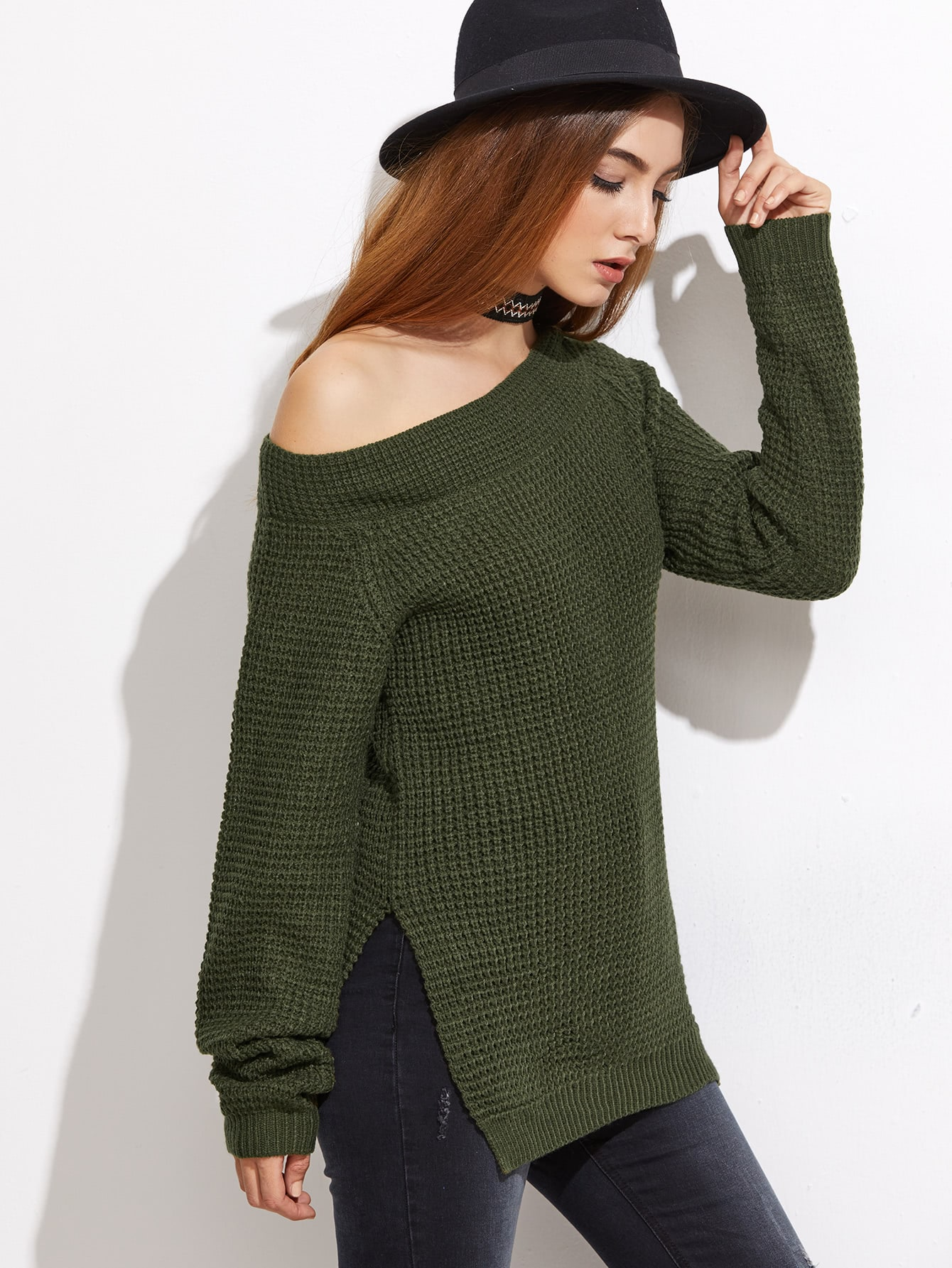 Olive Green Waffle Knit Asymmetric Off The Shoulder Sweater -SheIn ...