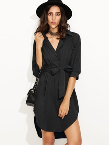 Black Self Tie High Low Curved Hem Shirt Dress