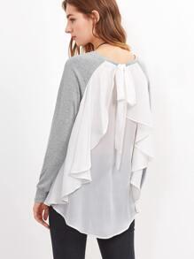T-shirt dos à volants contrasté - gris