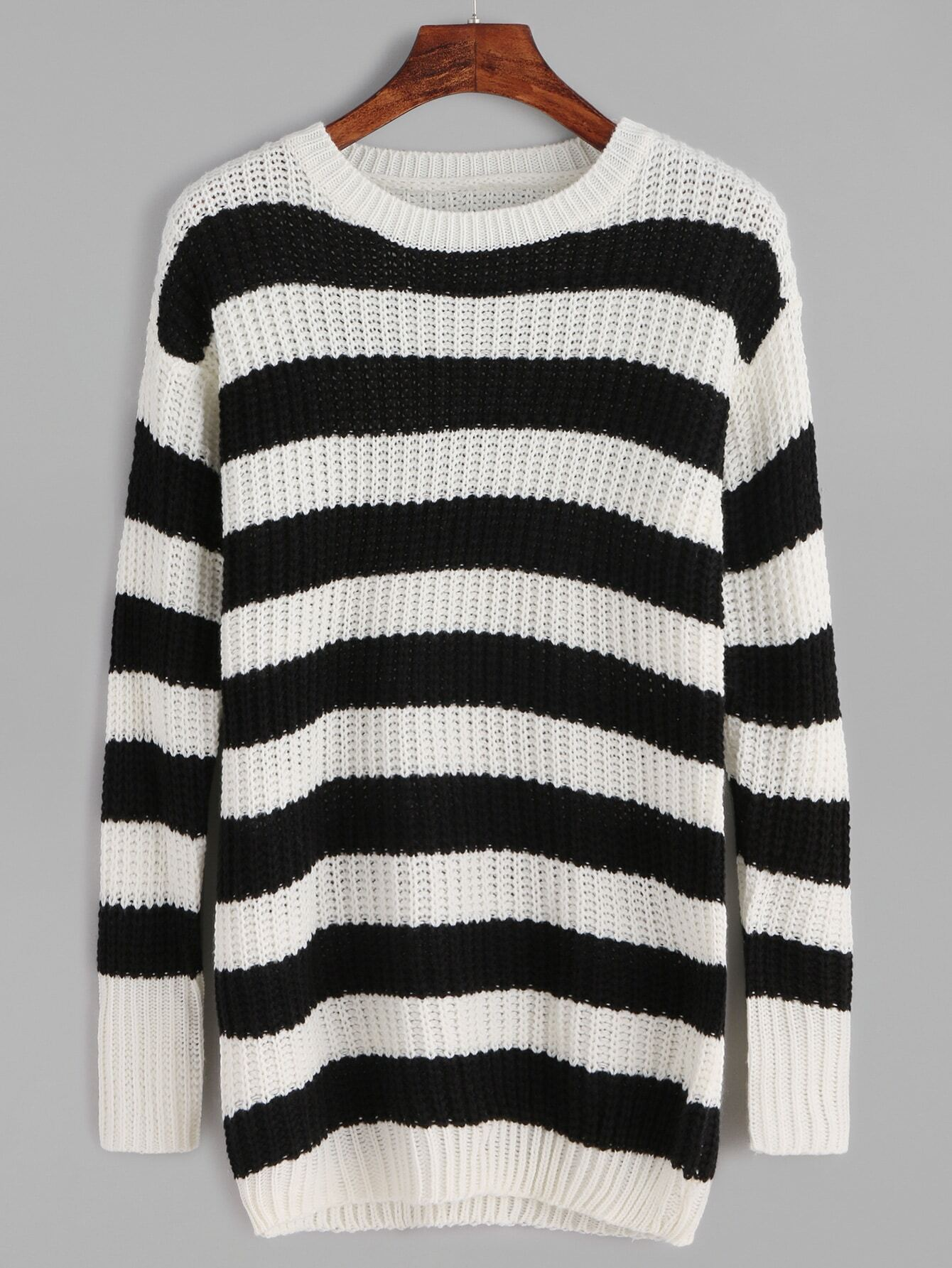 SheIn Black And White Striped Loose Knit Sweater