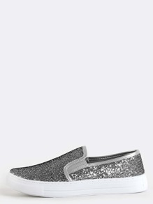 Glitter Slip On Sneakers SILVER