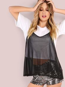 2 in 1 Short Sleeve Tee With Sheer Cami Top BLACK