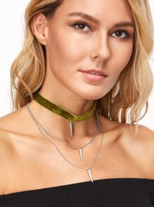Green Velvet Layered Spike Choker Necklace