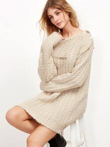 Apricot Mixed Knit Asymmetric Off The Shoulder Sweater Dress