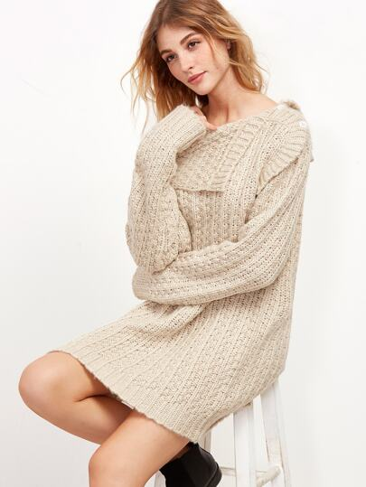 Asymmetric Fold Over Bardot Sweater Dress