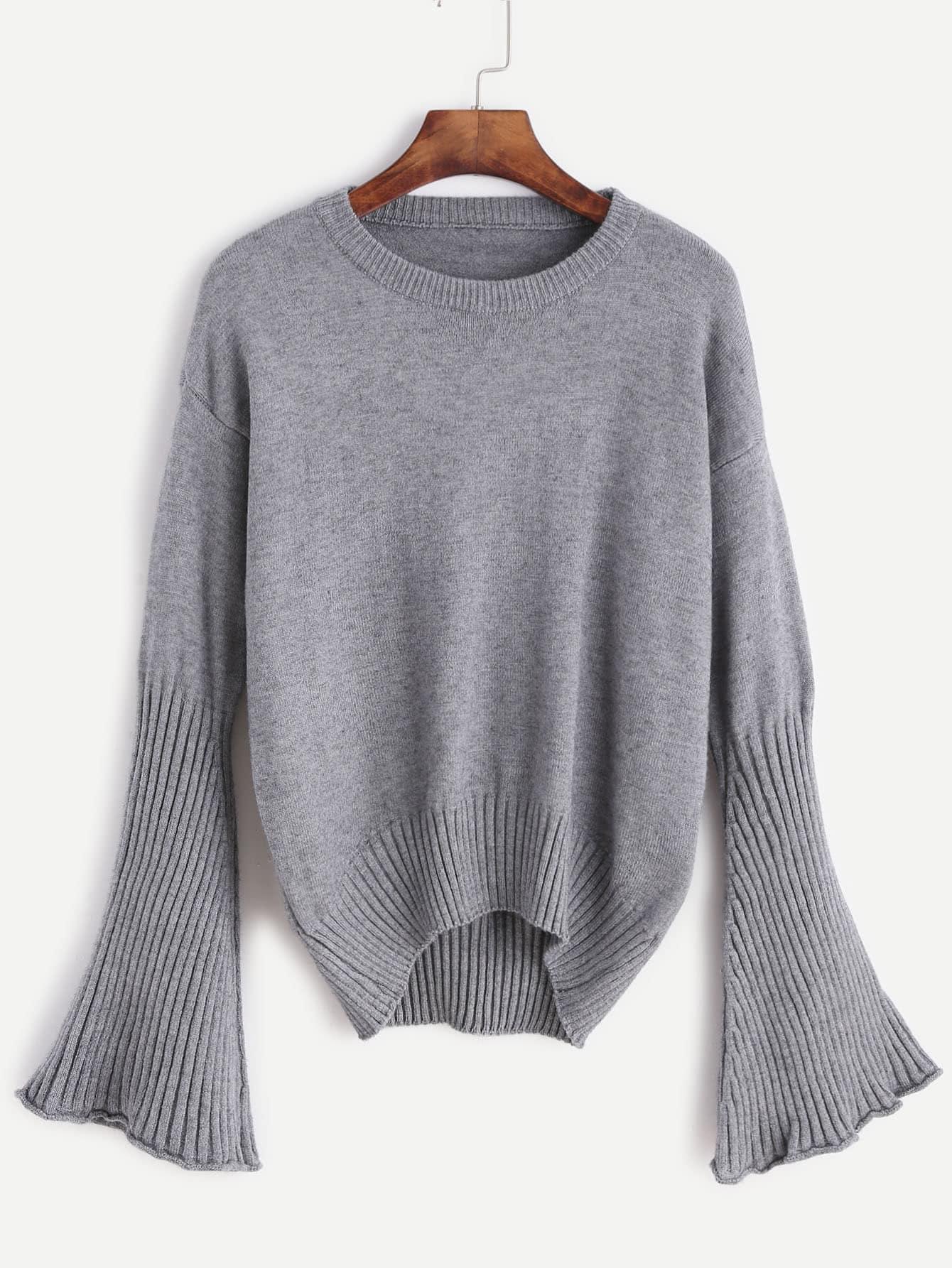 Grey Drop Shoulder Bell Sleeve Dip Hem Sweater sweater161024006