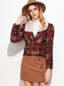 Burgundy Jacquard Fleece Collar Double Breasted Jacket