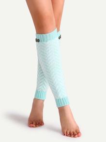 Jambière tricoté avec bouton - bleu de lac