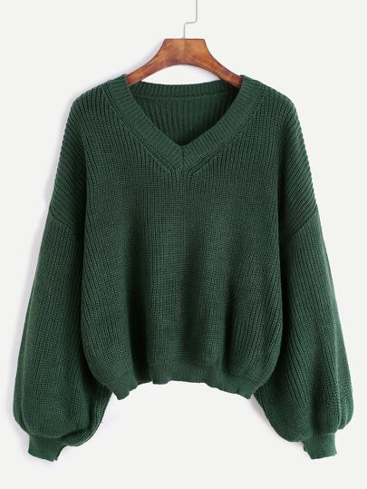 Army Green V Neck Drop Shoulder Seam Sweater