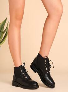 Black Faux Leather Cap Toe Lace Up Boots