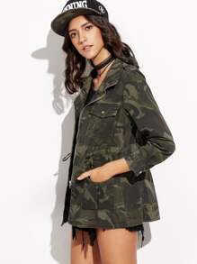 Camo Print Drawstring Pockets Coat