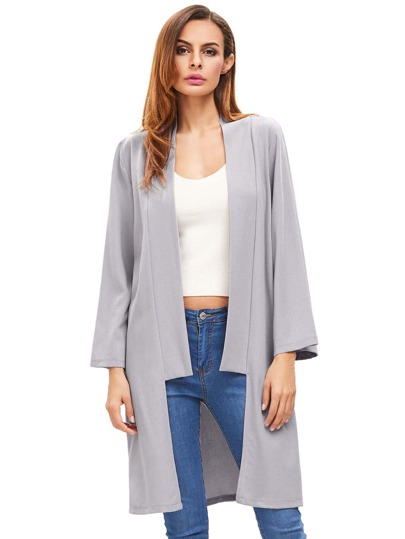 Silver Open Front Long Sleeve Outerwear