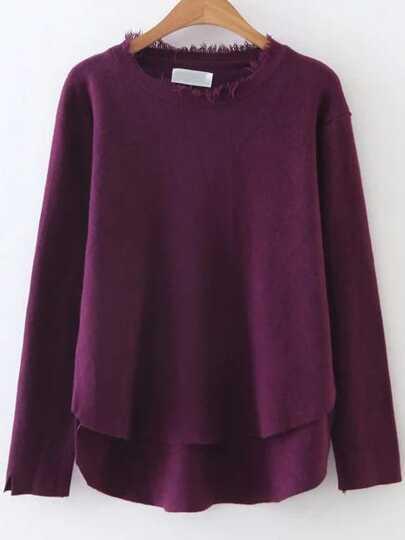 Burgundy Fringe Trim Dip Hem Knitwear