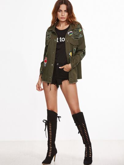 Olive Green Drop Shoulder Ripped Jacket With Patch