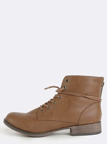 Lace Up Leather Ankle Boots BROWN
