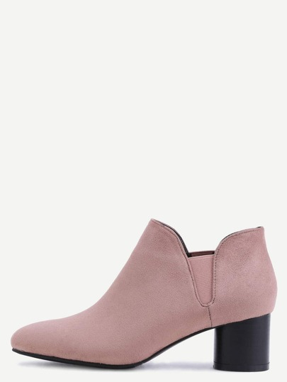 Nude Pink Faux Suede Elastic Chunky Heel Ankle Boots