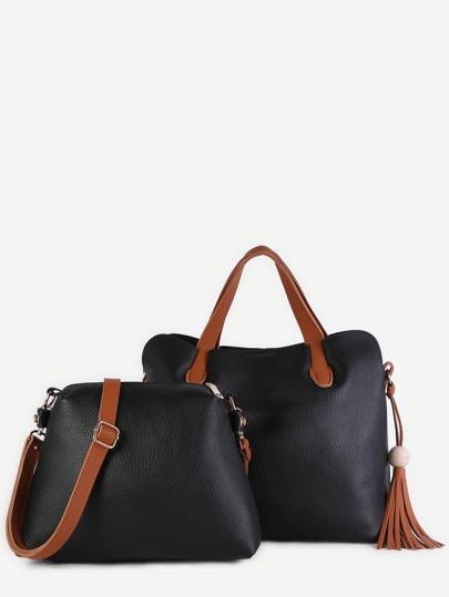 Black Faux Leather Tassel Trim Tote Bag Set