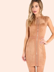 Faux Suede Queen Anne Zip Mini Dress